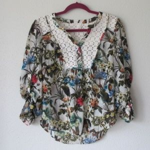 anthropologie meadow rue floral plants blouse